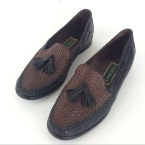 Cole Haan Tassel Loafers Leather Black Brown 8M